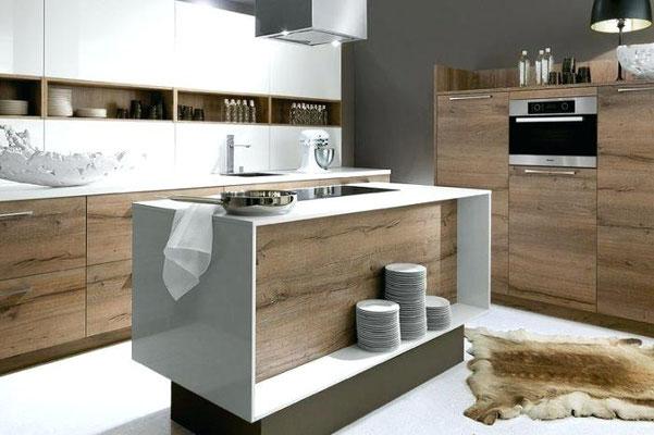cuisine blanche et bois haut de gamme sur mesure Schroder chez cuisine design Toulouse