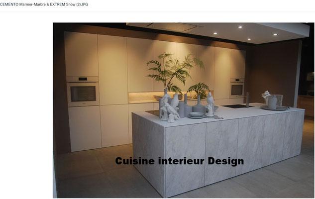 cuisine aspect marbre sans poignée en push lash vue de l' ilot central collection et tendances 2018 cuisine design Toulouse