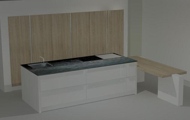 Cuisine ilot et bloc armoires Cuisine interieur design Toulouse