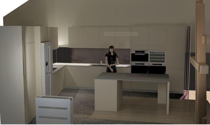 cuisine ilot coin repas Cuisine interieur design Toulouse