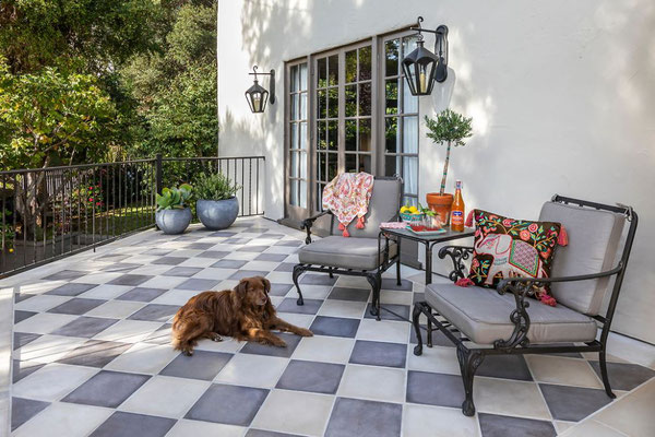 A tile porch is just a quick sweep away from cleanliness.