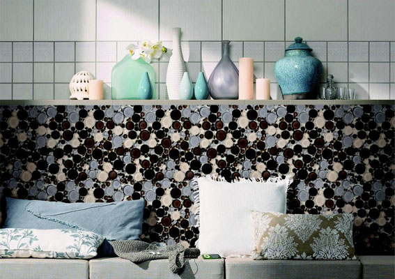 This bubble mosaic incorporates lavender and a dark plum color with peach and olive for a unique blend.
