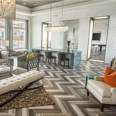 A dramatic herringbone layout creates jazzy movement.