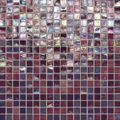 Moody iridescent purple glass tile mosaic.