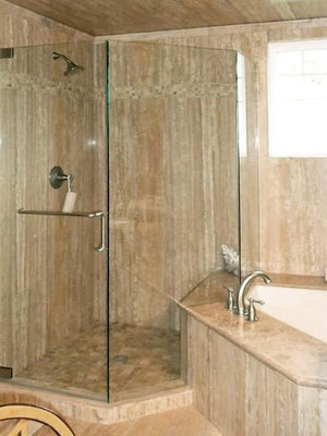Keep the focus on your stunning tile with a frameless glass door.