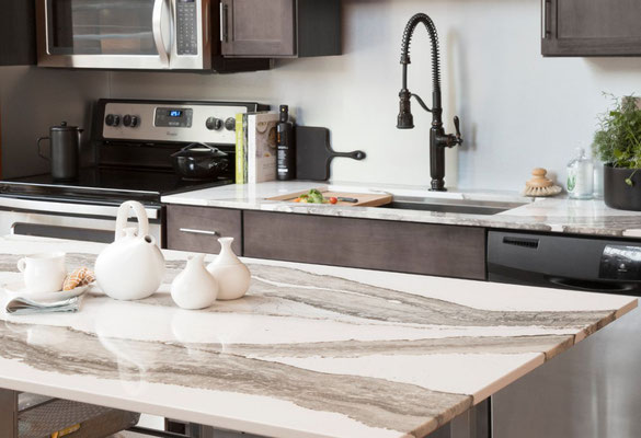 Cambria Skara Brae Quartz features stunning man-made rivers of white and brown.