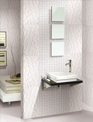 Glazed ceramic wall tiles with creeping vines