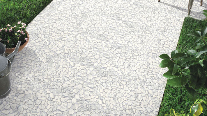 These pebbles may look like marble, but they're really floor-rated cast glass!