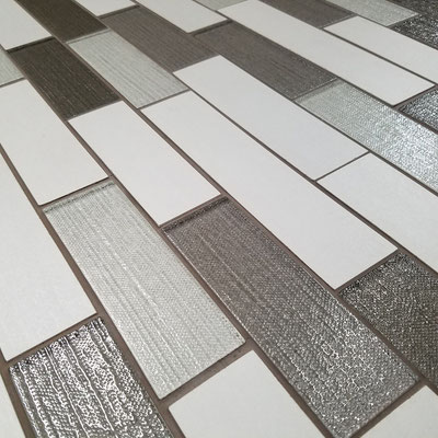 White tile combined with texture glass in various shades of gray
