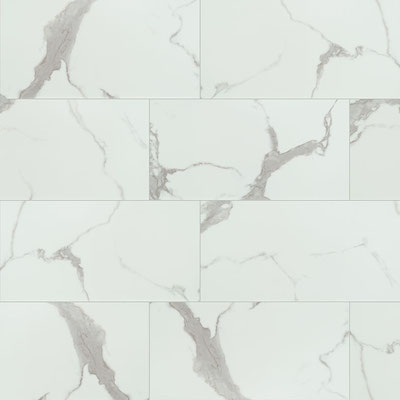"Trecento Calacatta Marbello is a 12x24"" white marble look with warm gray veining."