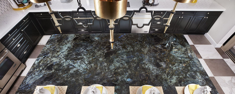Labrador Green Granite is notable for it's blue and green iridescent flecks.