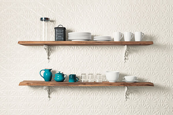A fresh star burst pattern livens up this kitchen backsplash