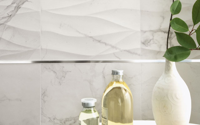 Gentle undulations in a white marble tile