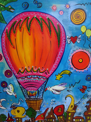 """ Ballonreise"" 30x40cm VERKAUFT"