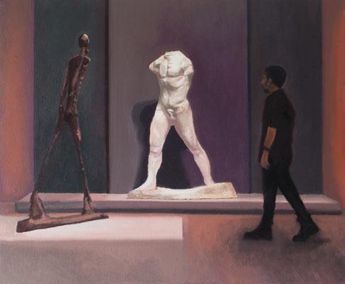 Dans le Musée.( Fundación La Caixa ). Óleo sobre lienzo. 46x38  cms. Año 2020.