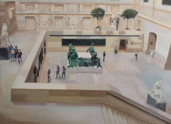 Dans le Musée.( Musée du Louvre). Óleo sobre lienzo. 100x73  cms. Año 2021.