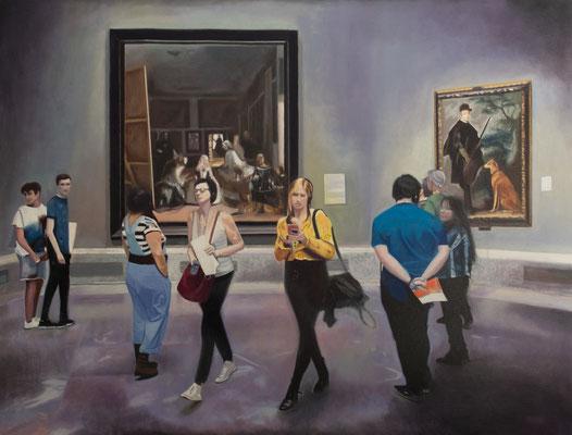 Dans le Musée.( Museo del Prado ). Óleo sobre lienzo. 100x68  cms. Año 2021.
