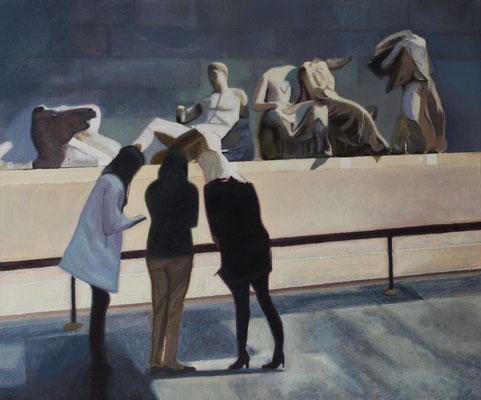 Dans le Musée.( British Museum ). Óleo sobre lienzo. 46x38 cms. Año 2020.