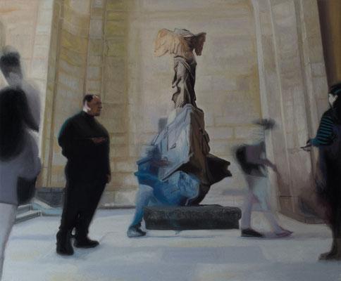 Dans le Musée. ( Musée du Louvre). Óleo sobre lienzo. 65x54 cms. Año 2020.