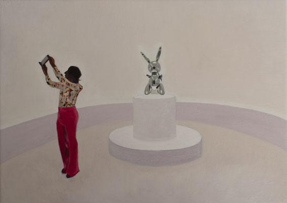 Dans le Musée.( Whitney Museum). Óleo sobre lienzo. 35x27 cms. Año 2021.