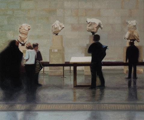 Dans le Musée.( British Museum ). Óleo sobre lienzo. 46x38  cms. Año 2018.