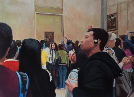Dans le Musée.( Musée du Louvre). Óleo sobre lienzo. 100x73  cms. Año 2020.