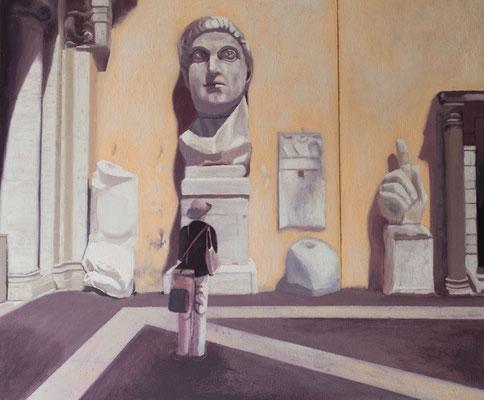Dans le Musée.( Museos Capitolinos ). Óleo sobre lienzo. 46x38  cms. Año 2019.