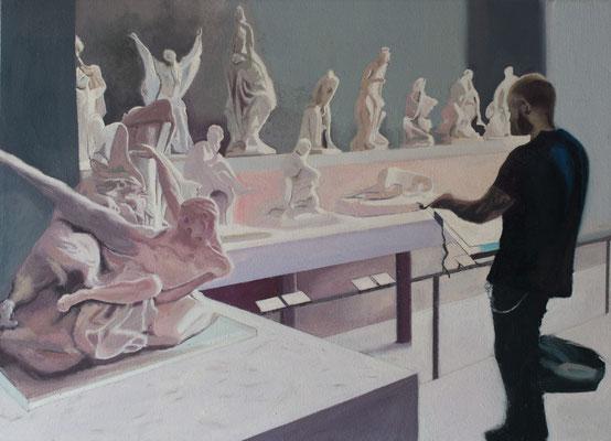 Dans le Musée. ( Musée du Louvre). Óleo sobre lienzo. 46x33 cms. Año 2019.