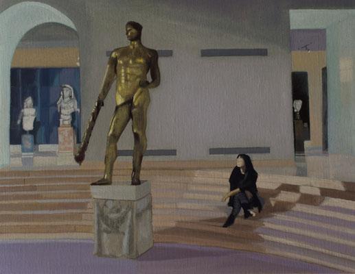 Dans le Musée.( Museos Capitolinos ). Óleo sobre lienzo. 35x27  cms. Año 2019.