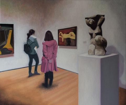 Dans le Musée.( Metropolitan  Museum of Art ). Óleo sobre lienzo. 55x46  cms. Año 2020.