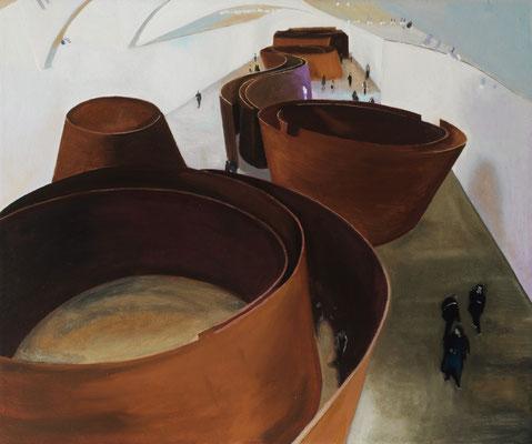 Dans le Musée. ( Guggenheim Museoa ). Óleo sobre lienzo. 55x46 cms. Año 2020.