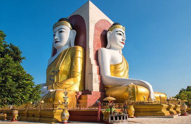 Die 4 Rücken an Rücken sitzenden Buddas von Kyaikpun