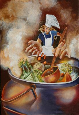 """""""La cuisinière"""" 73 x 100 - Original VENDU - Reproduction possible"""