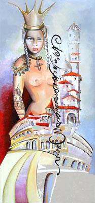 """""""La grande reine"""" - 80 x 177 cms - Acrylique et huile sur panneau de bois."""