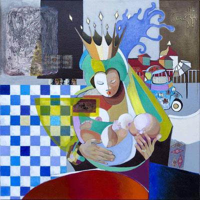 """""""La maternité 2"""" 80 x 80 - Acrylique et huile sur toile - 2300€  -  Original disponible -"""