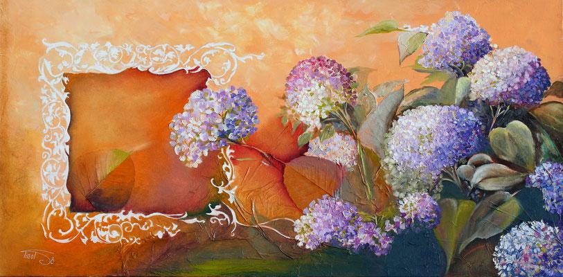 Les hortensias 99 x 49,50 -  Vendu - Disponible seulement en reproduction ou digigraphie®.