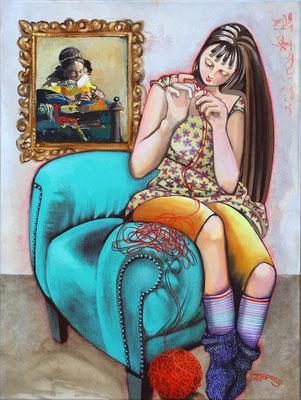 """""""Le fil rouge"""" Huile et acrylique sur toile - 60 X 80 - Original disponible 1120€ - Possible en digigraphie ou reproduction sur toile"""