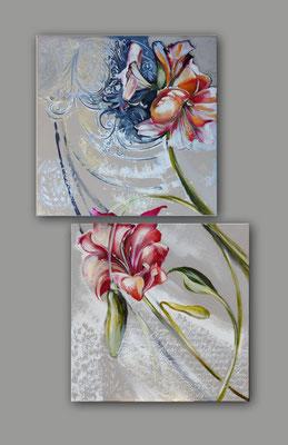 Diptyque lys (70 x 70) x deux toiles - Originaux le dyptique - 1880€ deux tableaux