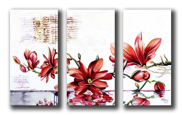Possible uniquement en reproduction ou digigraphie®. sur toile. Exemple de prix pour un 3 fois 50 x 100cms : 1590€ reproduit et 795€ édité