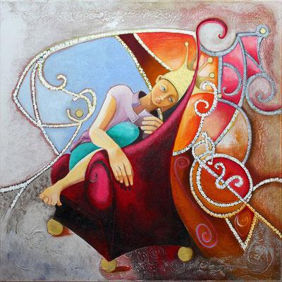 """""""La petite reine"""" 80 x 80 - Acrylique et huile sur toile  - 1800€  Original disponible - 1950€ avec le cadre américain"""