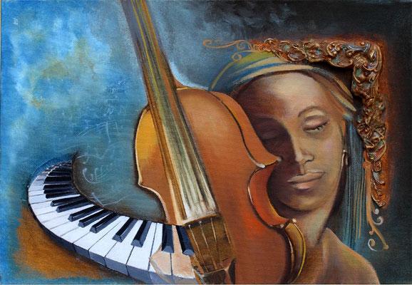 «La rêveuse » - 38 x 55 cms format 10P - 660€