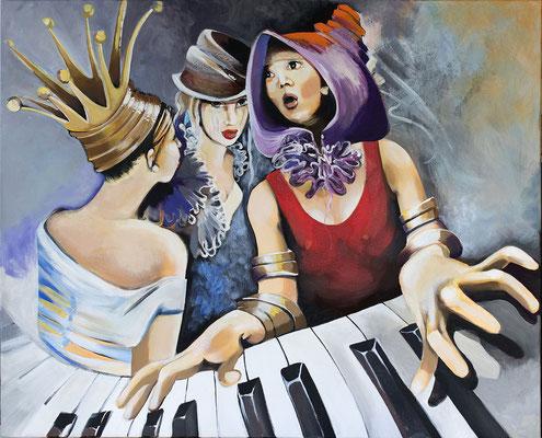 Le piano - 81 X 100 - Huile et acrylique sur toile - 2400€