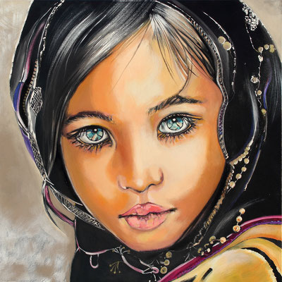 """Lilia"" -  100 X 100 - Original VENDU - Possible en digigraphie ou reproduction sur toile"