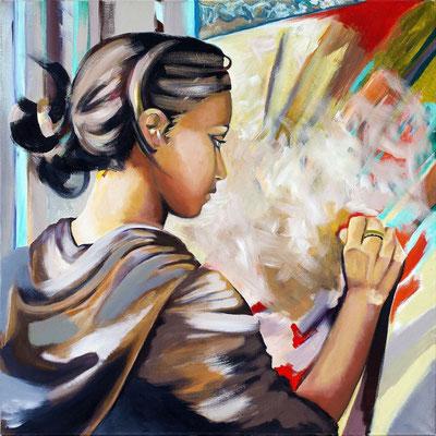"""""""La peintre"""" - 100 X 100 - Original Disponible - 2300€ - Possible en digigraphie ou reproduction sur toile"""