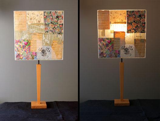 """Marie"""" pied bois et abat-jour papier - jeux de transparences -  Hauteur 73 cms - largeur 36 cm"""