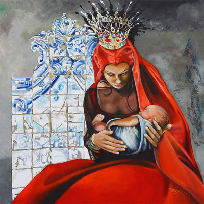 """Marie de Lisbonne"" 100 x 100 - Original 2300€ - Original disponible - Possible en digigraphie ou reproduction sur toile"