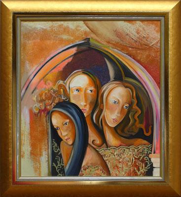 """""""Les trois grâces"""" 59 x 66 - Original disponible - 892€ sans cadre - 980€ avec encadrement"""