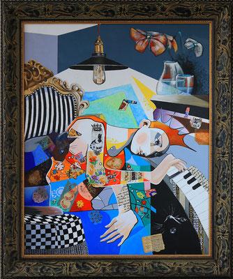 """""""Pianiste"""" - 81 X 100 - Huile et acrylique sur toile - 2400€"""