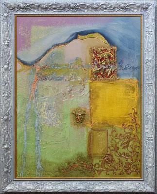 """""""Le jardin"""" 80 x 120 - Huile et acrylique sur toile - Original - 2200€"""