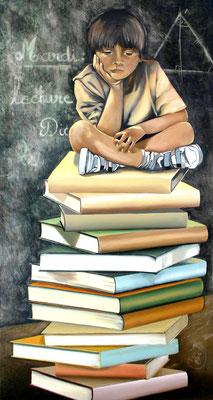 """""""L'école"""" 50 x 100 - Original vendu - Possible en digigraphie ou reproduction sur toile"""